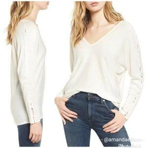 Splendid Lace Up Slit Sleeve V-Neck Knit Sweater